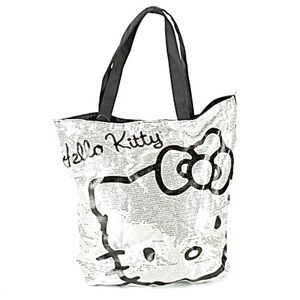 Hello Kitty Sequin Vegas Tote Bag Silver & Black